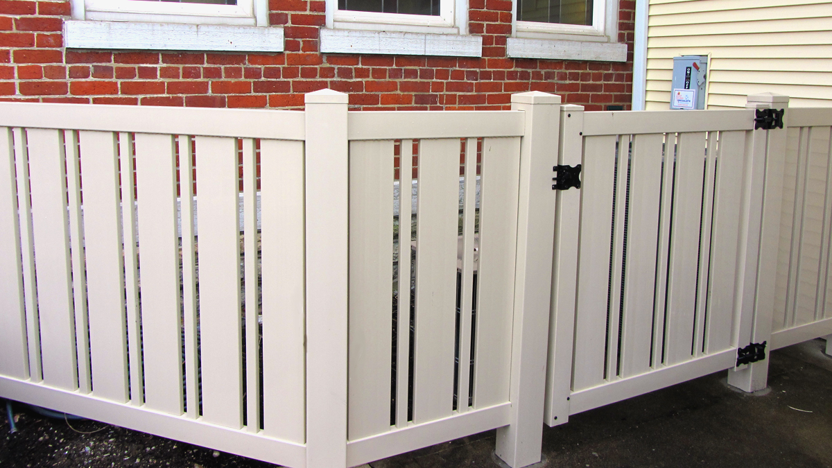 Vinyl enclosures block noise and create an attractive barriers.